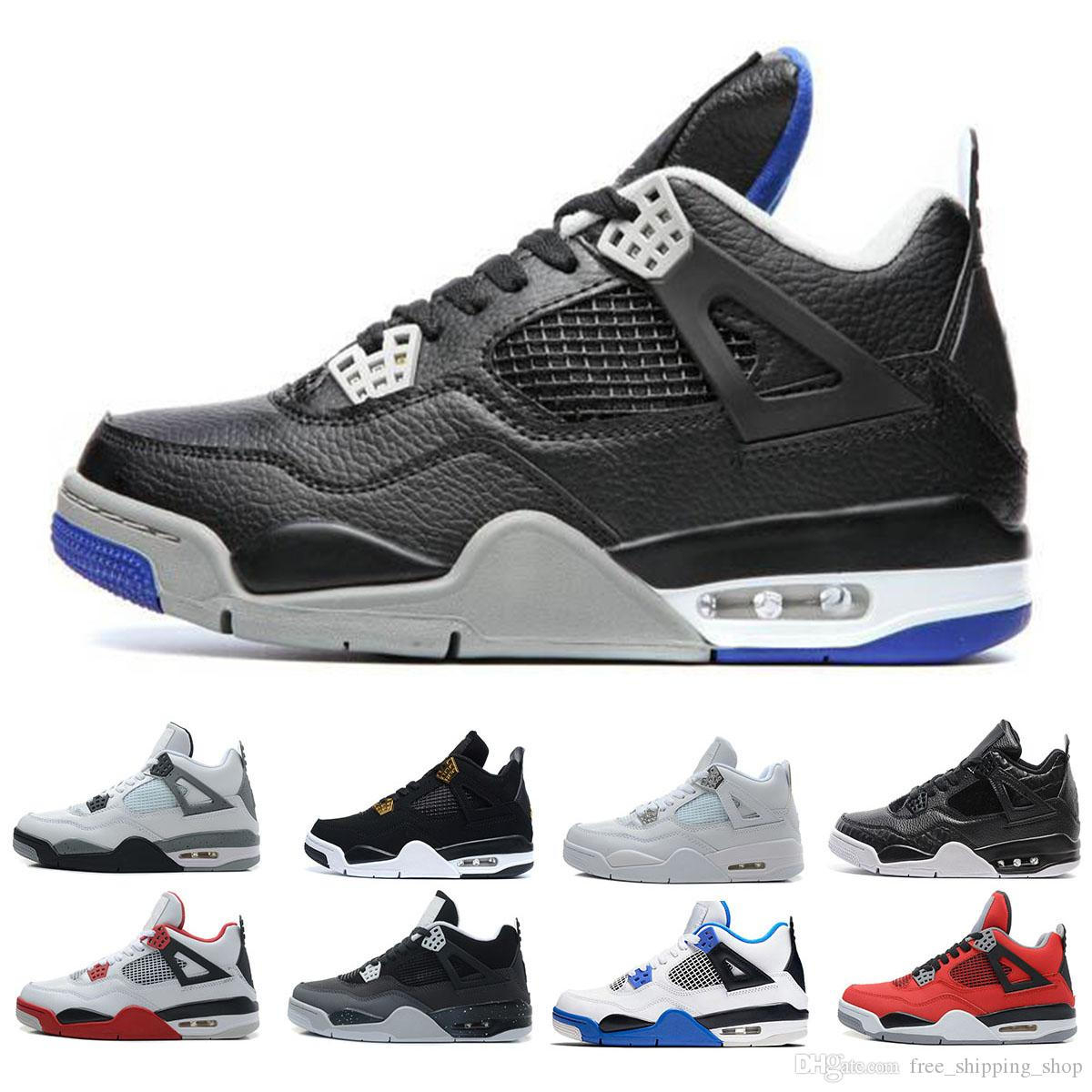 837ca097bced0e Wholesale Mens Alternate Motorsport Basketball Shoes Fashion 4s Blue Black  Cat Pure Money White Cement Royalty Toro Bravo Designer Sneakers Shoes  Online ...