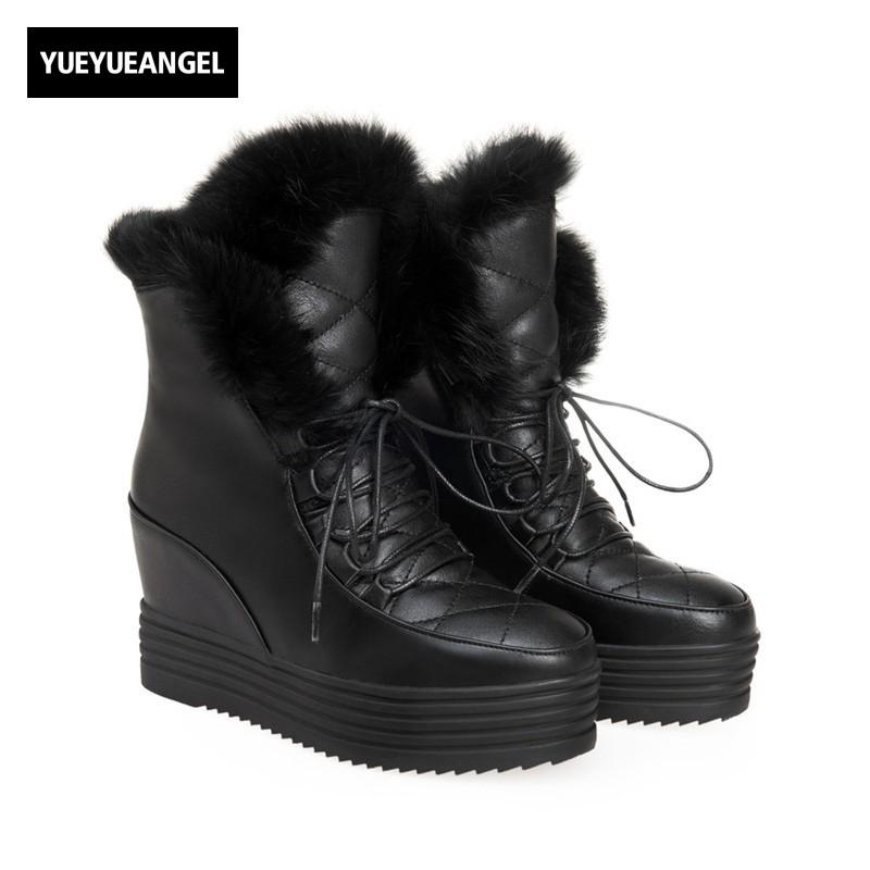 26f8cfb1737 New Rabbit Fur Trim Womens Snow Boots Fashion Hidden Heel Wedges Antiskid  Winter Warm Lady Ankle Boots Platform Female Footwear Cheap Boots Brown  Boots From ...