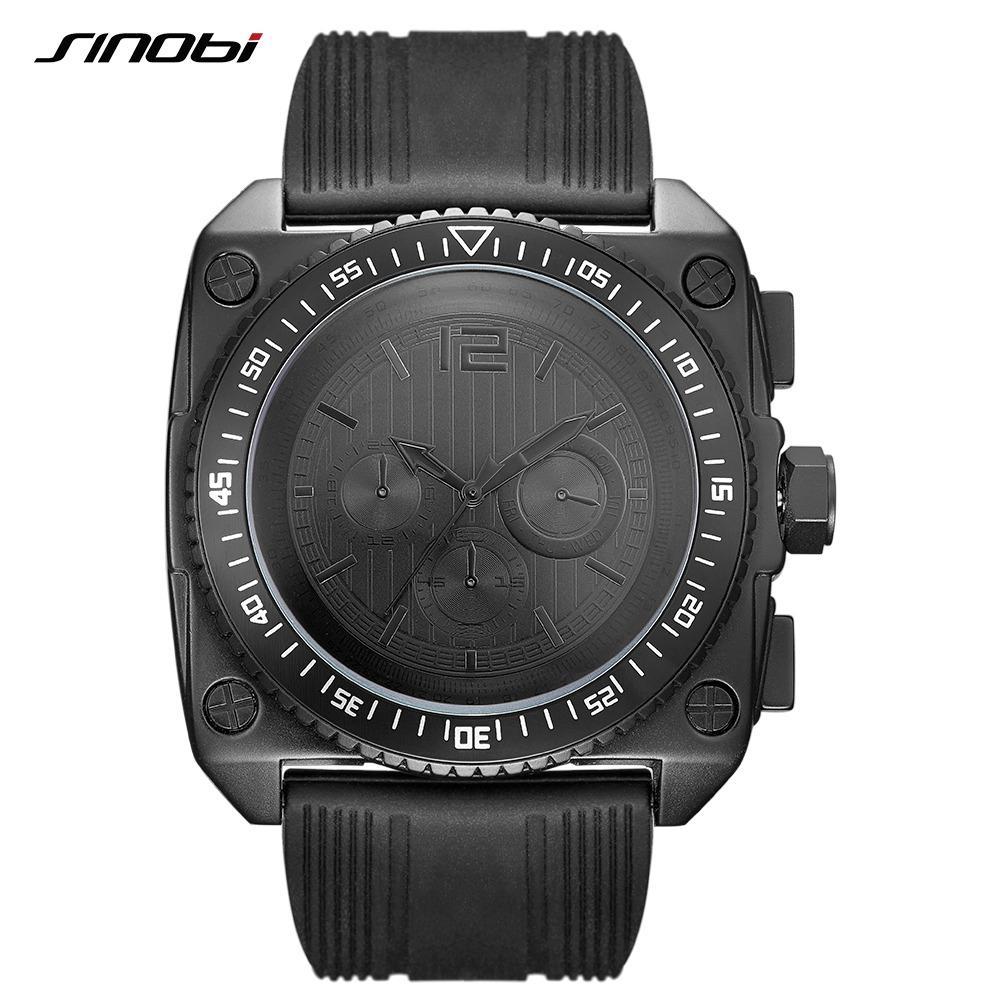 d23bd4ce00b Compre SINOBI Top Marca Black Mens Relógios Moda Quadrado Design Com  Pulseira De Silicone Macio Relógio De Quartzo Relógio Relogio Masculino De  ...