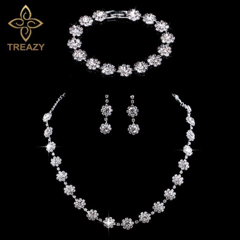 Treazy Versilbert Kristall Diamante Strass Hochzeit Choker Halskette/ohrringe/armband Für Frauen Brautschmuck Set Brautschmuck Sets