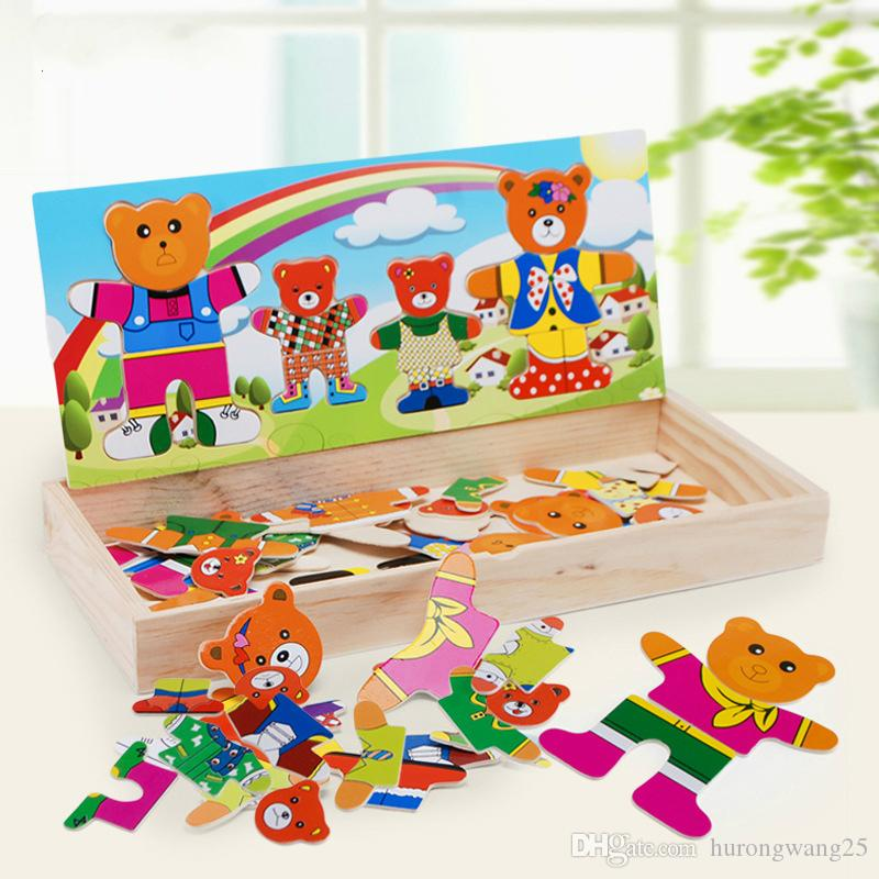 Bär Dress-up Wooden Puzzle Spielzueg Puzzles