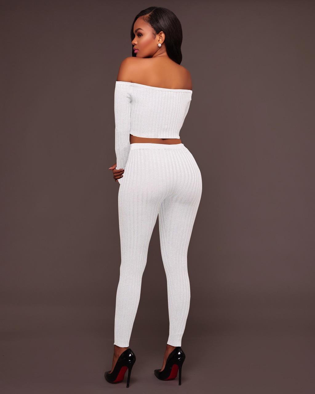 sexy alto hilo elástico sin hombro de manga larga camiseta pantalones de dos piezas conjuntos de las mujeres más el tamaño s-2xl primavera otoño club pantalones trajes