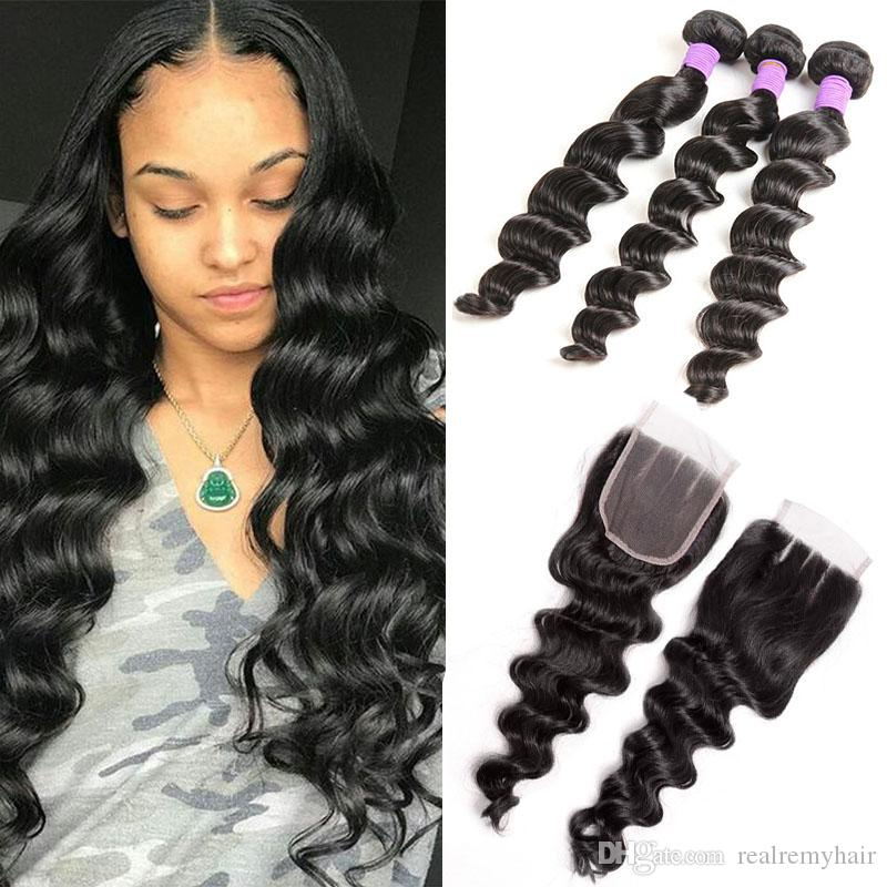 Peruvian Loose Deep Wave Bundles With Closure Cheap Human Hair Weave