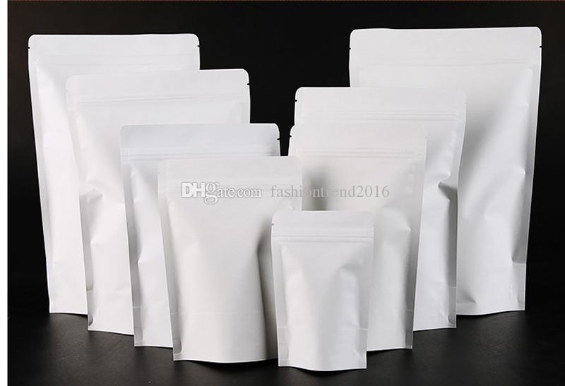 9 Size White Color Kraft Paper Bag Zip Lock Packaging Bag Doypack Stand up Packaging Bags Snack/Candy/Tea/Nuts/Powder/Rice/Corn