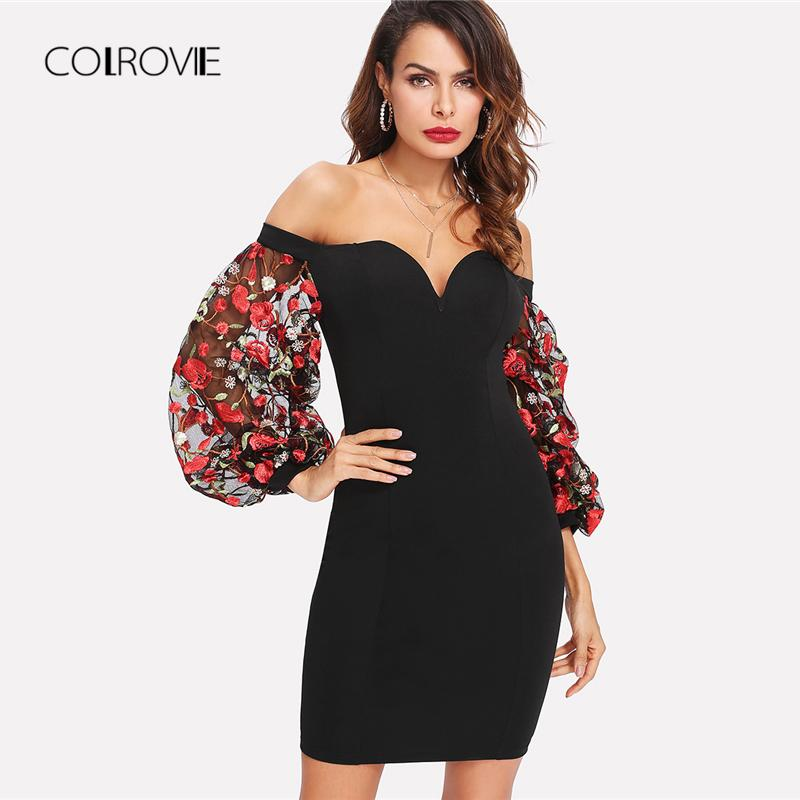 54e5f5c6e985 20187 COLROVIE Embroidered Mesh Sleeve Sweetheart Bardot Sexy Dress 2018  Summer Off The Shoulder Women Dress Sweetheart Party Dress Summer Dress  Women Black ...