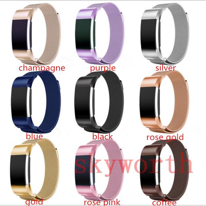 Magnética del lazo de banda del metal Para Fitbit Carga 2 3 Versa Lite Blaze Alta HR pulsera de acero inoxidable reloj de pulsera de malla Correa de reemplazo