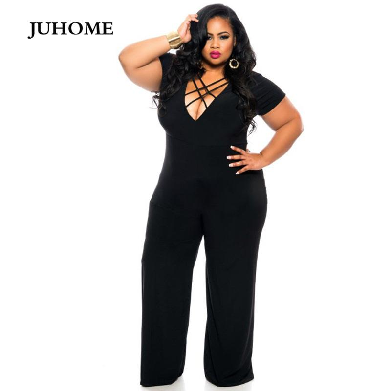 5ec197e5a975 2019 2018 Summer Sexy Womens Rompers Jumpsuit Casual Black Bodysuit Short Sleeve  V Neck Tunic Long Playsuits XXXL Plus Size Jumpsuits From Florence33, ...