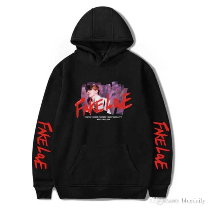 2f964318e8aa 2019 FAKE LOVE Sweatshirt Hoodies BTS Women Men Streetwear Hooded Hoodies  Fashion Casual Hoodies For Women Men From Bluedaily