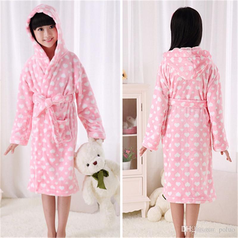 face930b6 Girls Robes Children Bathrobes Warm Soft Kids Robes Sleepwear Gils ...