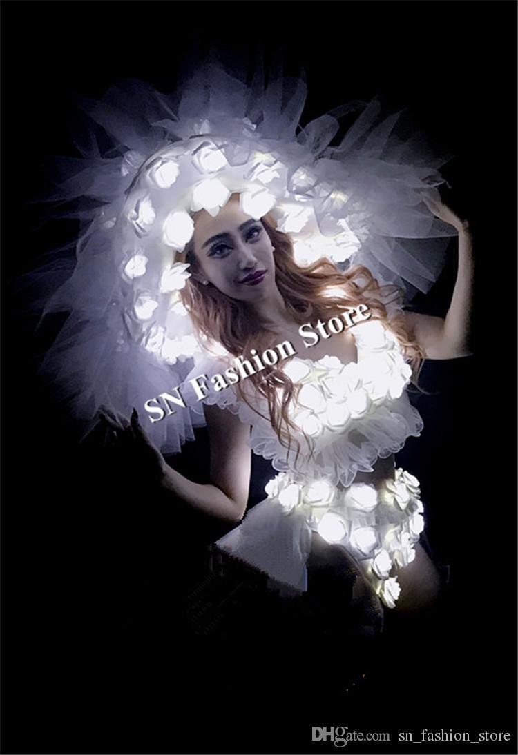 BC47 White led costumes ballroom dance led christmas dancer dj wears stage clothes light dress headress luminous hat bra skirt performance