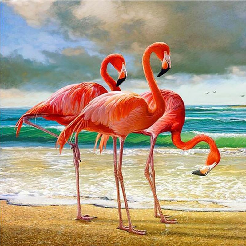 Satın Al Flamingo Kuşlar Tam Kare Diy Elmas Boyama 5d Elmas Mozaik