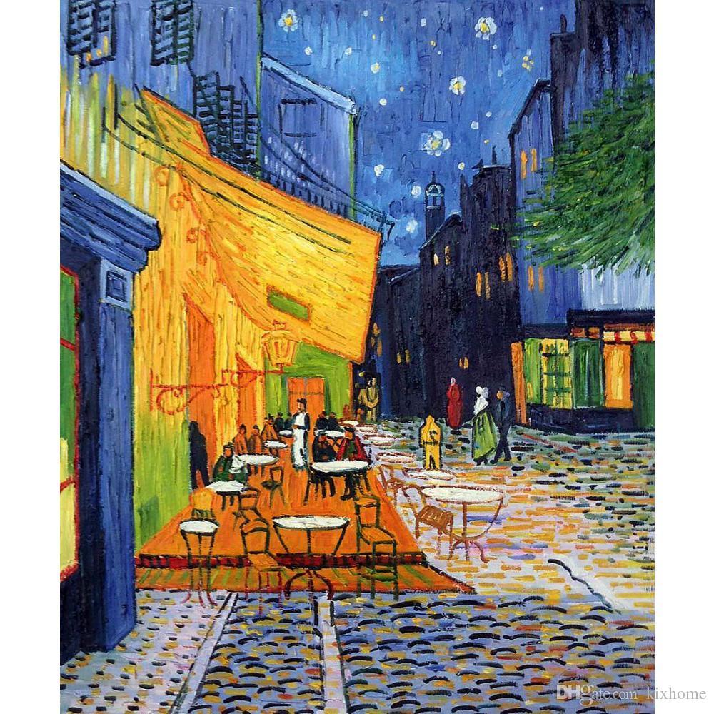Quadri moderni dipinti a mano di Vincent Van Gogh Terrazza Café at Night  per arredamento camera da letto