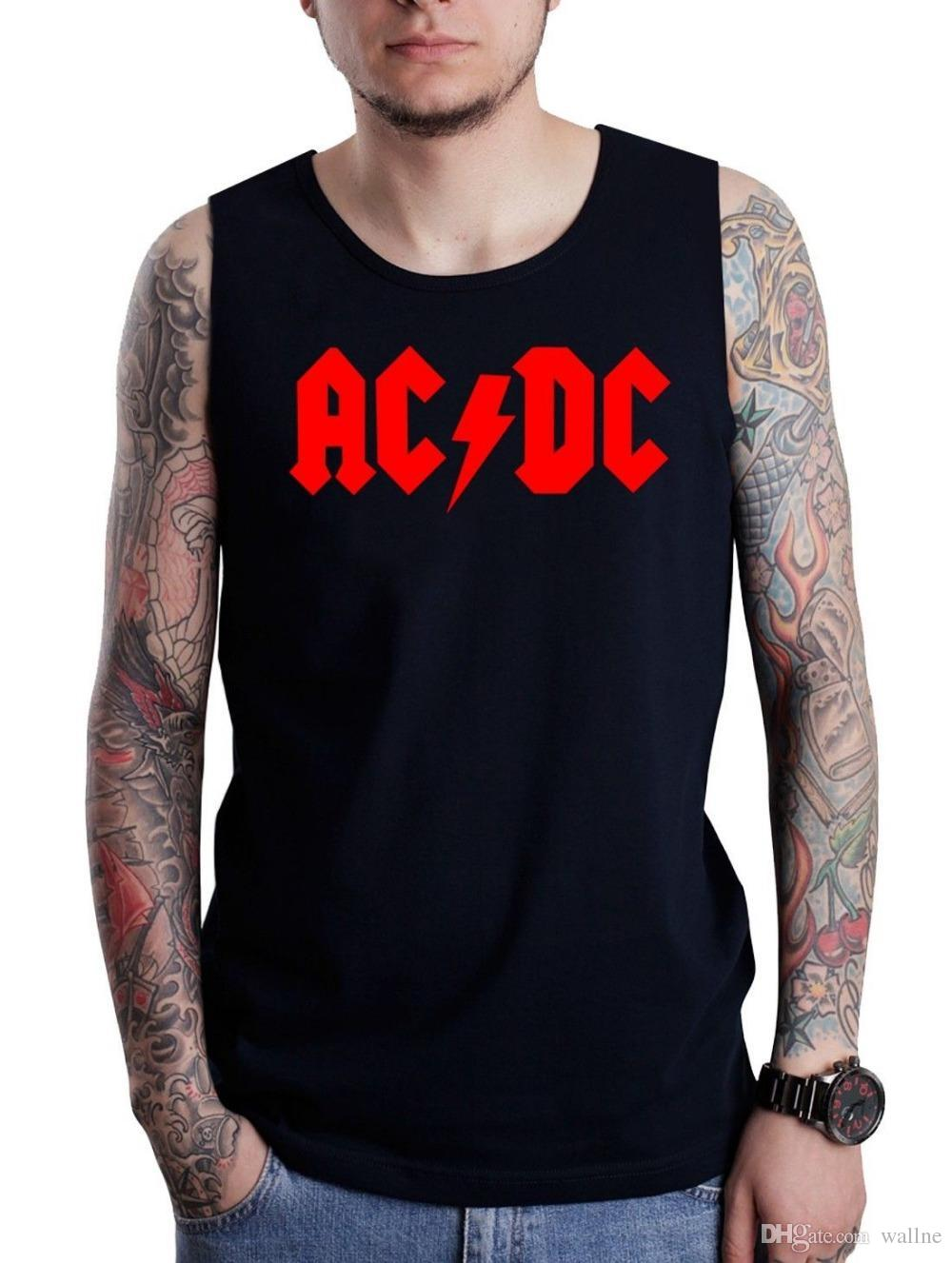 0435a0ef340429 2019 Wholesale AC DC ACDC Men S Tank Top Rock Metal Band Red Logo Printed  Black Sleeveless T Shirt Cotton Casual Music College Vests Size S From  Wallne