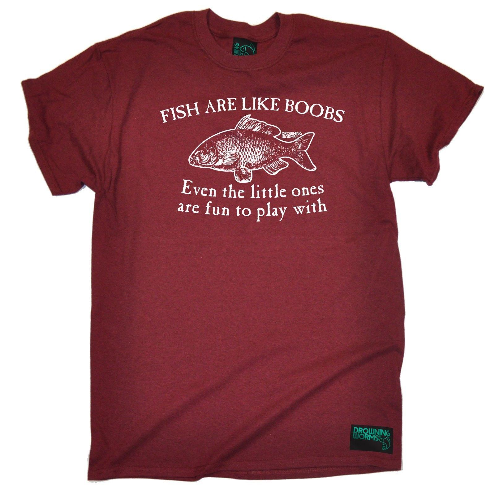 Fishing Tee Fish Are Like Boobs Rude Adult Rod Funny Birthday T SHIRT Casual Shirts Designer White Shirt From Fatcuckoo