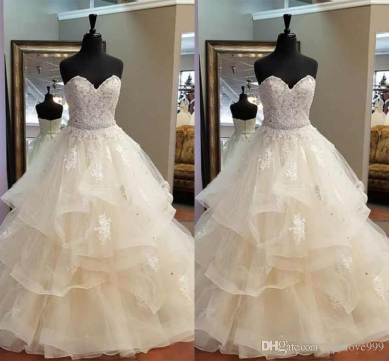 Gorgeous A-Line Ruffles Wedding Dresses Sweetheart Crystal Beaded Sash Beautiful Bridal Dresses Real Pictures Wedding Party Wear