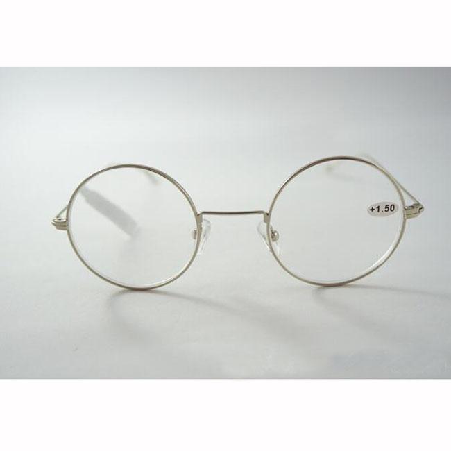 147fb8e3491d Retro Round Lens Reading Glasses Silver Full Metal Frame Eyeglasses ...