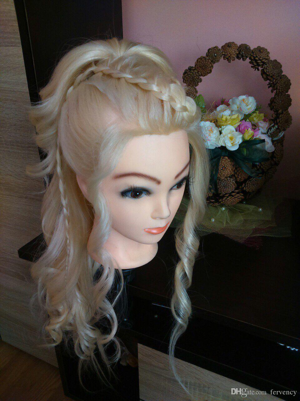 40 % Real Human Hair 60 cm Training Head For Salon Hairdressing Mannequin Dolls professional styling head can be curled
