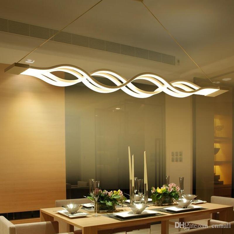 moderne minimalistische led kronleuchter welle pendelleuchte 40W / 80W led  hängende lampe leuchte esszimmer wohnzimmer hängendes licht metall acryl