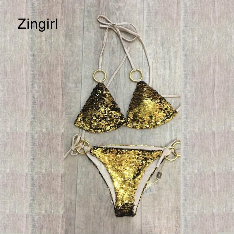 dd3b2f7b969ca 2019 Zingirl Sexy Gold Sequin Halter Intimates Bra   Brief Bra Set Low  Waist Straps Underwear Women Lace Metal Cut Out Lingerie Sets From Quhai