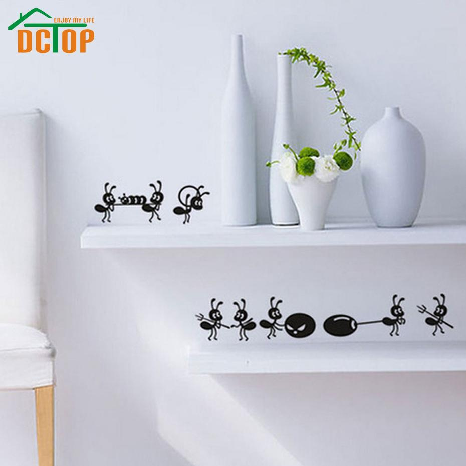 DCTOP 8 Ants Move House Funny Wall Stickers Home Decor Creative Adhesive Vinyl Decals Kitchen Decoration Art From