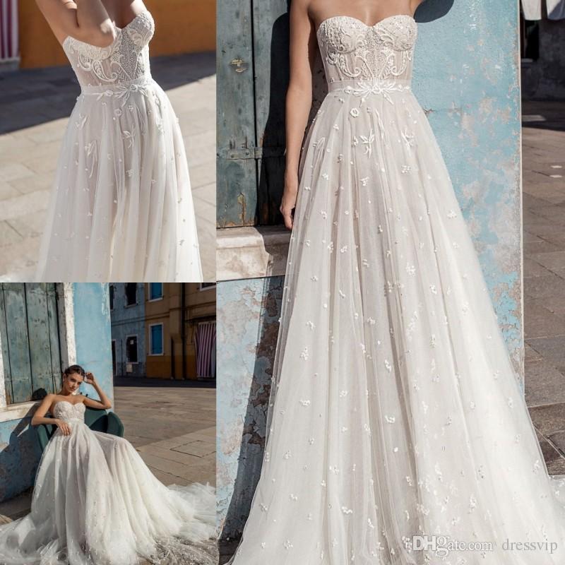 Discount Gali Karten 2018 Wedding Dress Strapless Tulle Applique ...