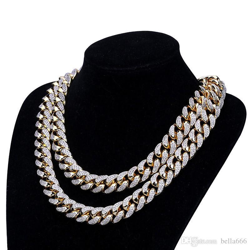 18mm Width Men Copper Miami Cuban Chain Necklace Bracelet Set 18K Gold Plated Cubic Zirconia Hip Hop Jewelry Sets