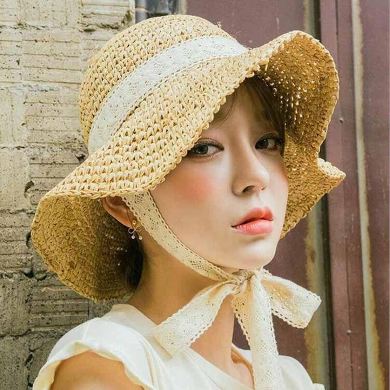 Summer Boater Hats For Women Straw Sun Hat Lady Girls Lace Ribbon Bow Panma  Beach Hat Floppy Female Travel Folding Chapeu Trilby Stetson Hats From  Zaonoodle ... 073e59814b84