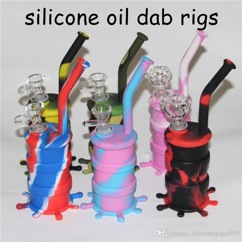 Vente chaude Silicone Tuyau De Tabac avec bol en verre Mini Water Rigs Acrylique Narguilé Bong Multi Couleurs Portable Silicone Pipes