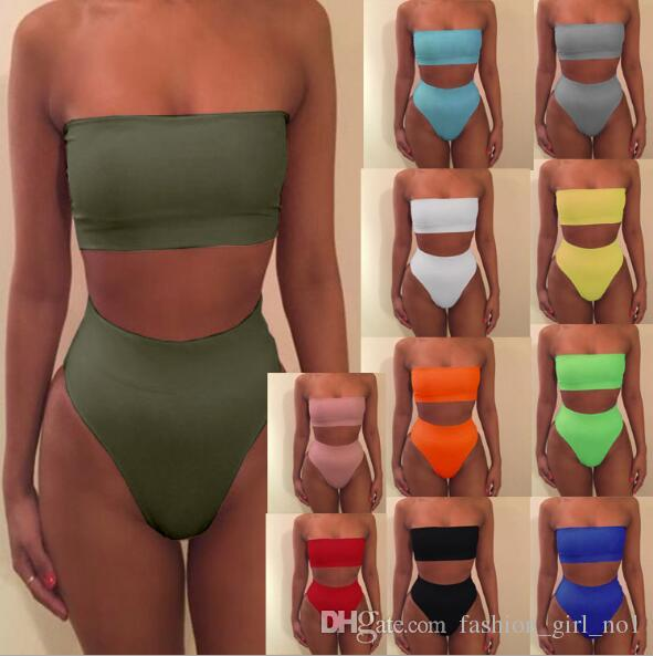 d2e3429edc European and American women's tube top sexy stretch tight triangle split  swimsuit two-piece swimming trunks Brazilian women's swimsuits
