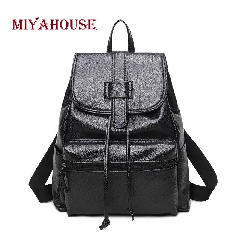 20e0ac68c0 Miyahouse Simple Black Solid Color Woman Backpack High Quality Leather Lady  Rucksack Minimalist Style Female Casual Travel Bag Rolling Backpacks  Backpacks ...