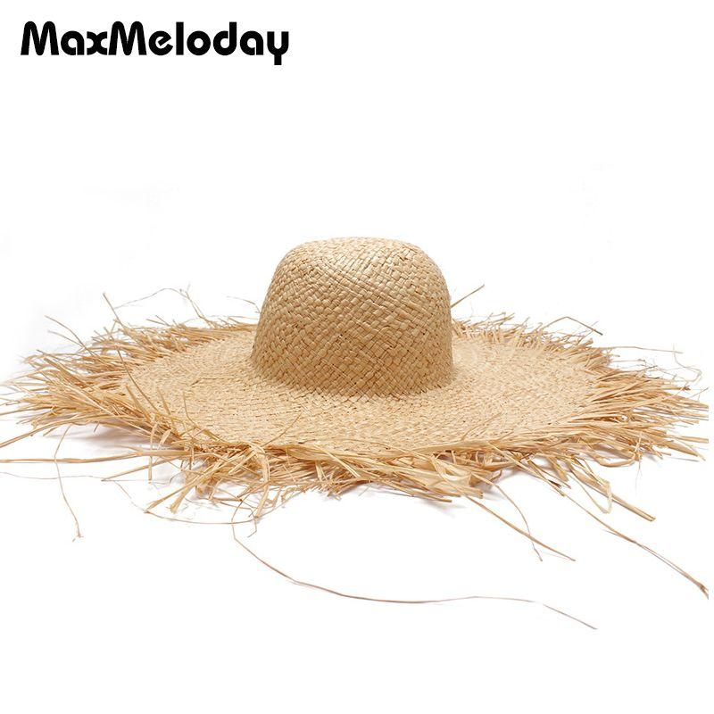 MaxMeloday Womens 100% Raffia Straw Crochet Hat Foldable And Packable  UPF50+ Summer Hats For Women Straw Wide Brim Sun Hats 2018 Black Floppy Hat  Flat Bill ... 22394d93dd3b