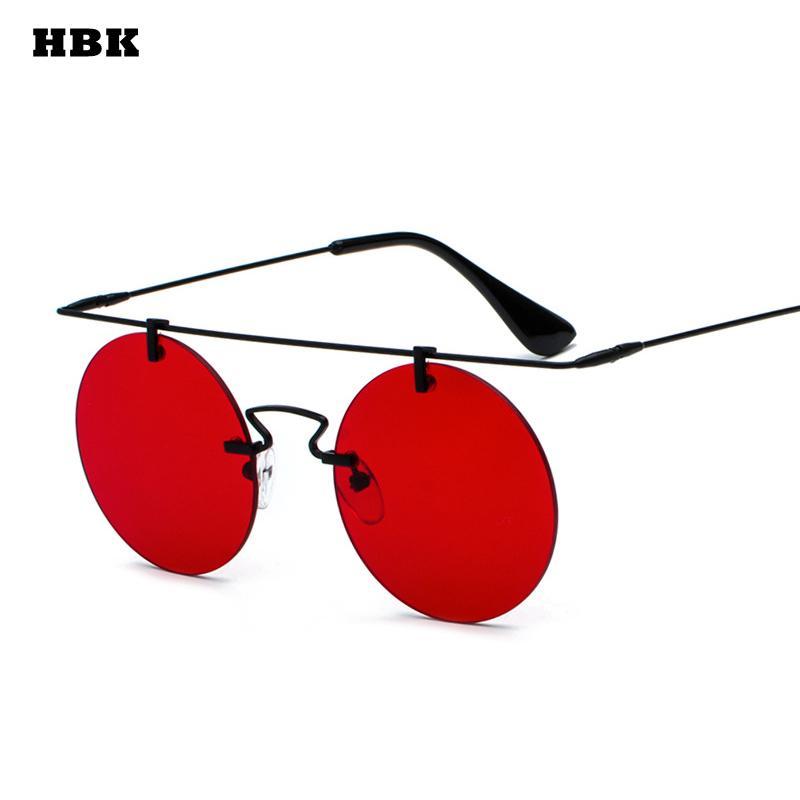 247ce9539d53e Compre HBK 2018 Newes Moda Feminina Rodada Óculos De Sol Dos Homens De  Metal Retro Preto Marrom Roxo Vermelho Sem Moldura Óculos De Sol Feminino  UV400 De ...