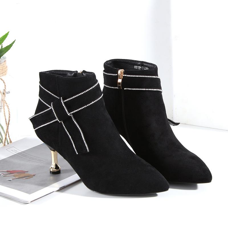 Dropshipping womens fashion new brand Bling boots lady winter casual party suede high heel boots dress wedding boot WD-91