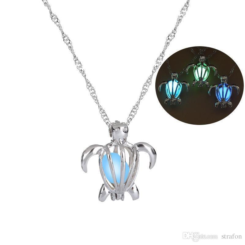 Wholesale Fashion Glow In The Dark Turtle Necklace Hollow Pearl