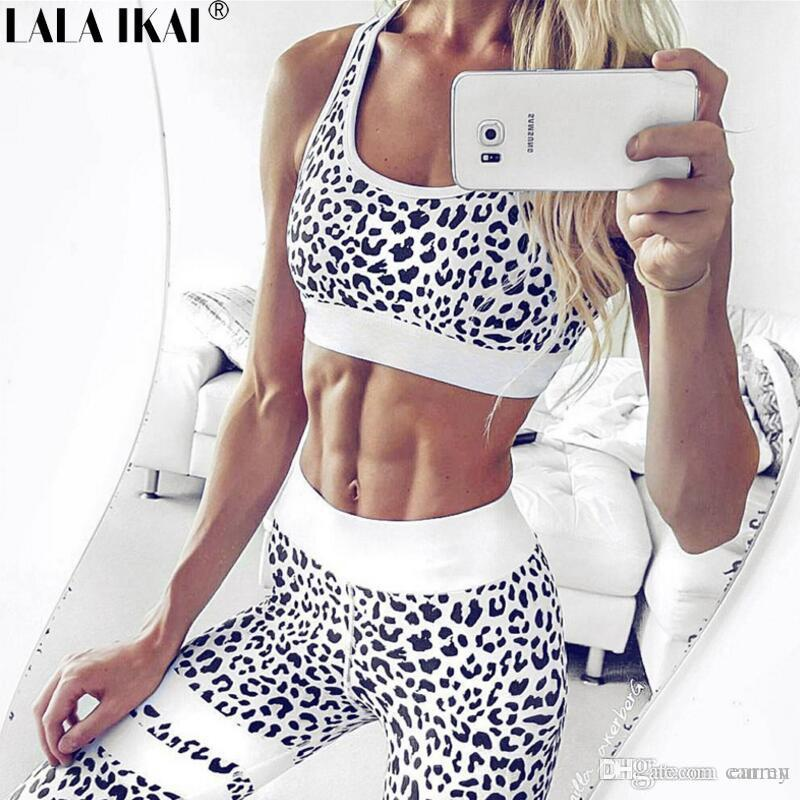 f4eee51f616db 2019 Wholesale Women Yoga Leopard Print Bra + Pant Sets Gym Clothes Fitness  Sport Suit Summer Female Running Workout Underwear Set HWX0021 5 From  Canren