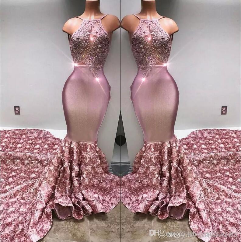 2020 Halter Satijnen Mermaid Lange Prom Jurken 3D Rose Rok Kant Applique Beaded Formal Party Avondjurken Real Image BA7797