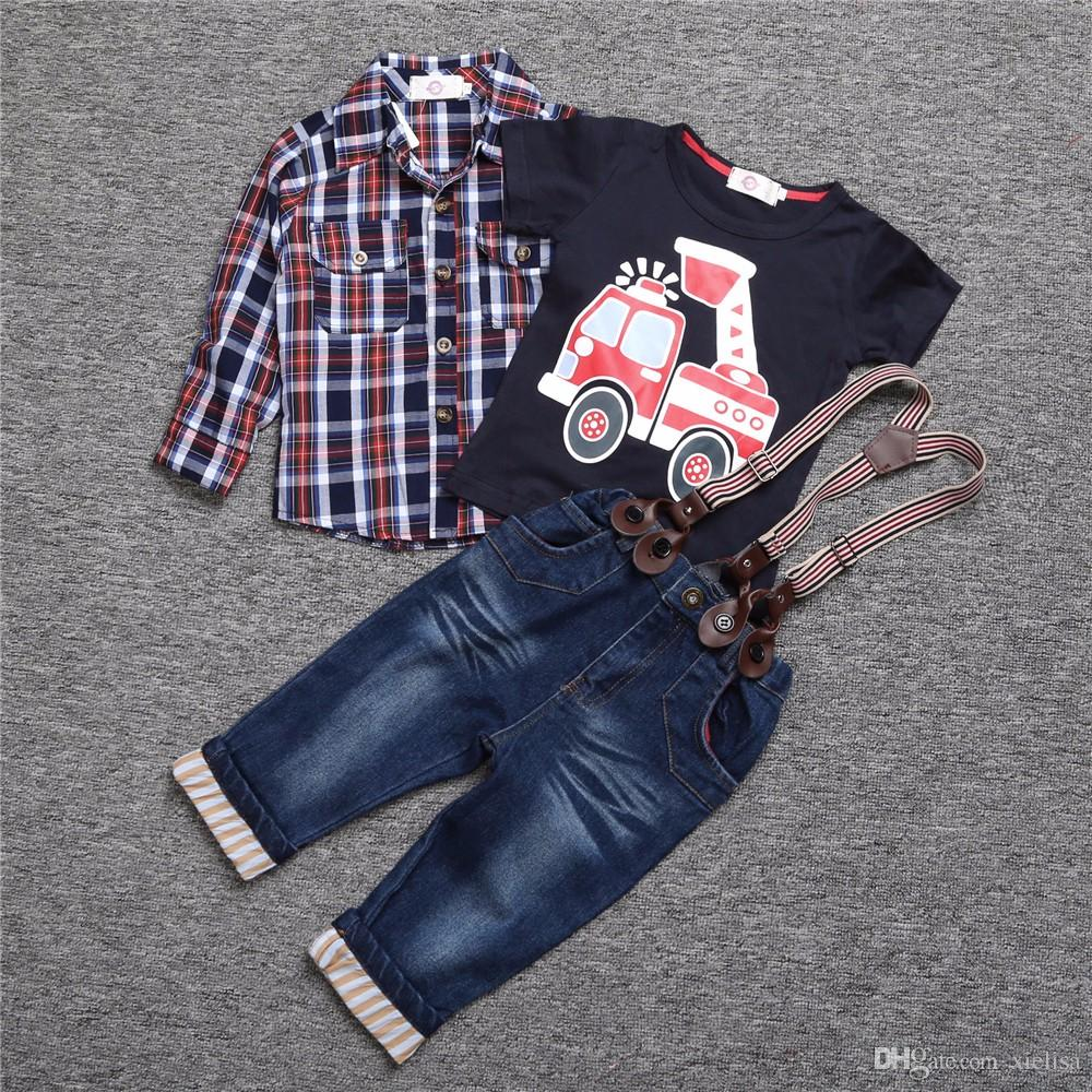 Short sleeve High quality boys handsome clothing / Set. children gentleman two-piece Pullover + jeans Children set 2018