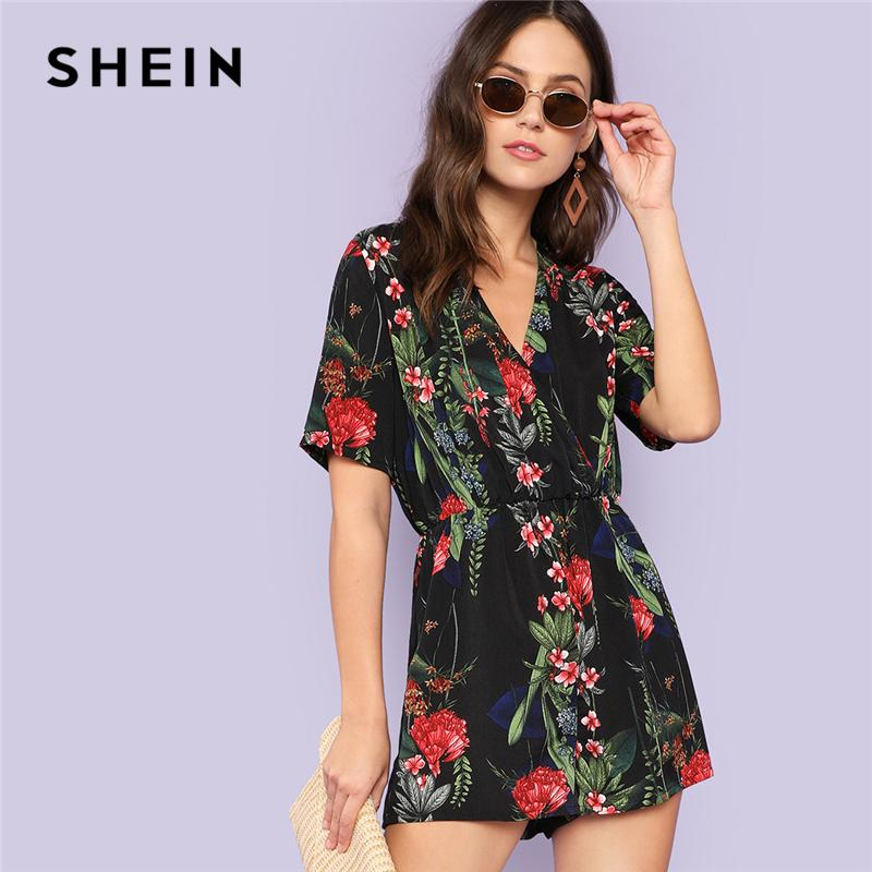 e164a8648cf 2019 20187 SHEIN Multicolor Vacation Bohemian Beach Boho Botanical Tropical  Print Surplice Wrap V Neck Romper Summer Women Casual Jumpsuit From  Huang03