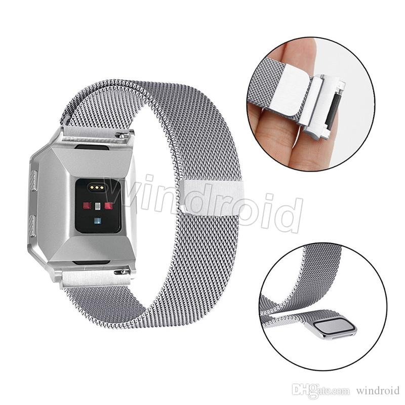 Cheap Milanese Loop Watch Band Stainless Steel Magnetic Closure Replacement Bracelet Strap for Fitbit Ionic Smart Fitness Watch with pe bag