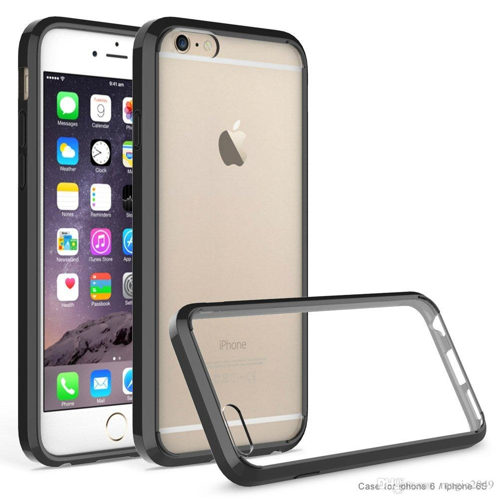 online retailer 240aa 7696e For iphone 6s case simple style acrylic mobile phone case two in one tpu  double color transparent scratch