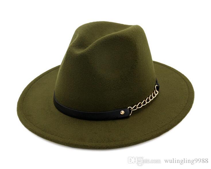 Moda cartolas para homens mulheres elegante da forma sólida feltro Fedora Hat banda larga e plana Brim Jazz Chapéus Elegante Trilby Panamá Caps