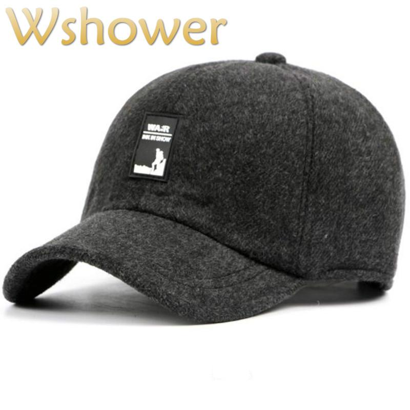 44f136c26c8ec winter baseball cap for old men spring fall men s snapback hat with ear flap  warm thickened earflap male cap bone drop shipping