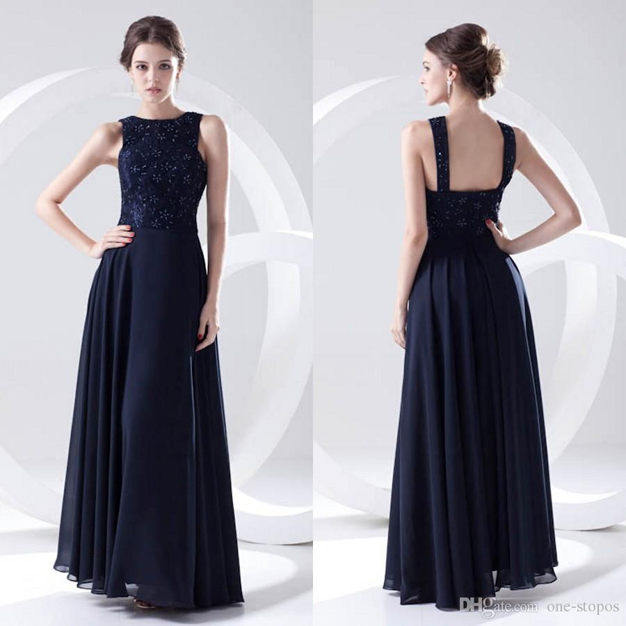 698698ef79c77 Navy Blue Elegant Beaded Evening Party Gowns Lace Tops Formal Wedding Guest  Maid Of Honor Dress Chiffon Bridesmaid Dresses ZPT230 Organza Bridesmaid  Dresses ...