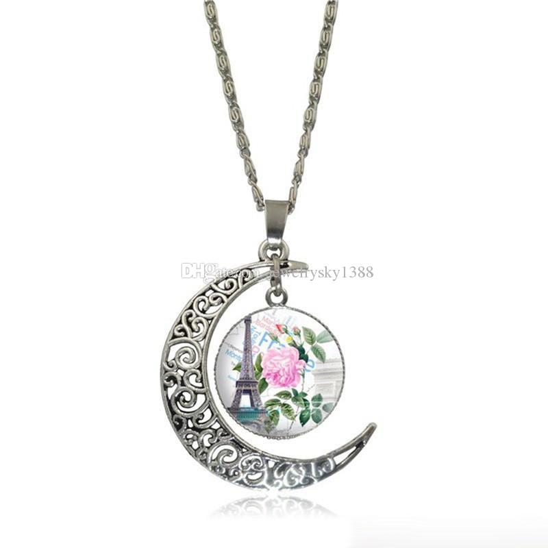 2018 Hot Sale Hollow Carved Moon Eiffel Tower romatic Time Gem Necklace&pendant For Women Girl Dreamlike Christmas Gifts