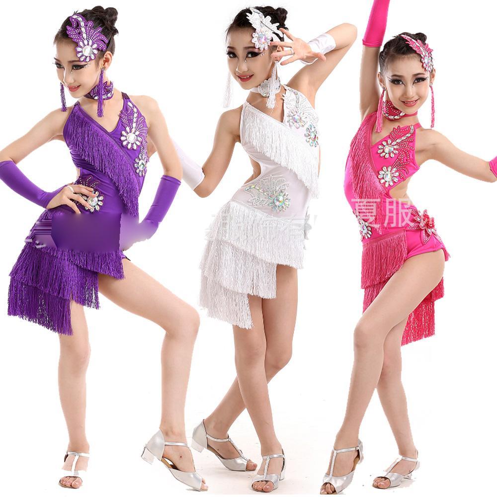 20efb36058c Compre Concurso De Borlas Vestido De Baile Latino Para Niñas Vestido De  Salsa Vestuario De Baile Trajes De Baile Chica Ropa Para Niños Etapa De  Desgaste A ...