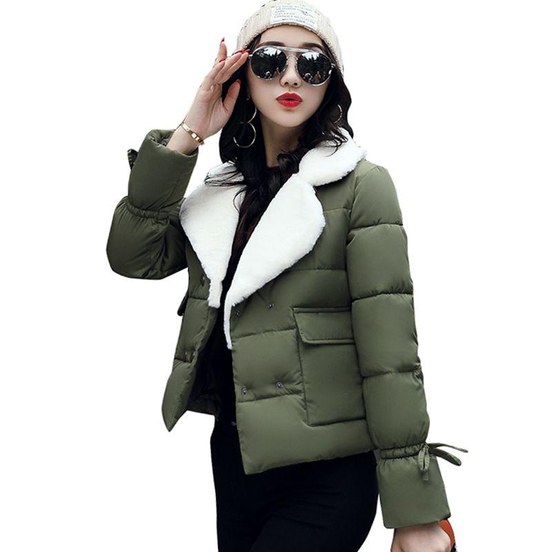 09721d06f474f 2018 Turn Down Collar Women Winter Coat Female Outerwear Ladies Thick Warm Short  Jacket Slim Breast Button Jaqueta Feminina S1017 Womens Leather Jackets ...