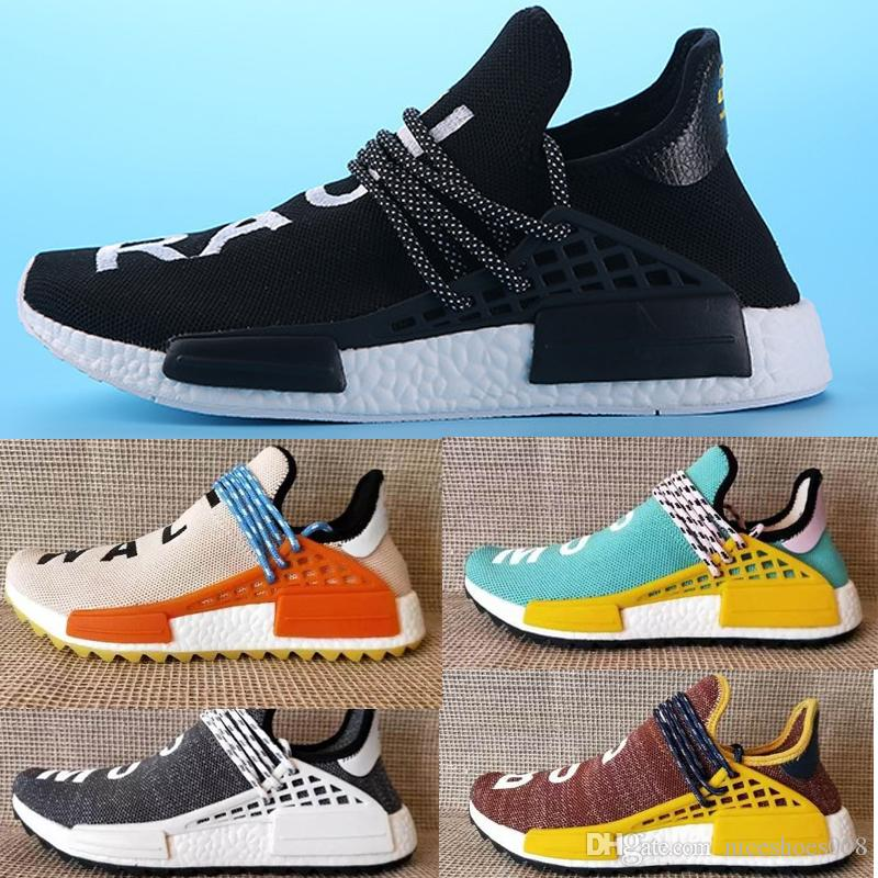 7eed5524f0ca1 2019 Wholesale Pw Human Race Pharrell Williams Hu Trail NERD Men Womens  Running Shoes Noble Ink Core Black Red Yellow Sports Shoes Eur 36 47 From  ...
