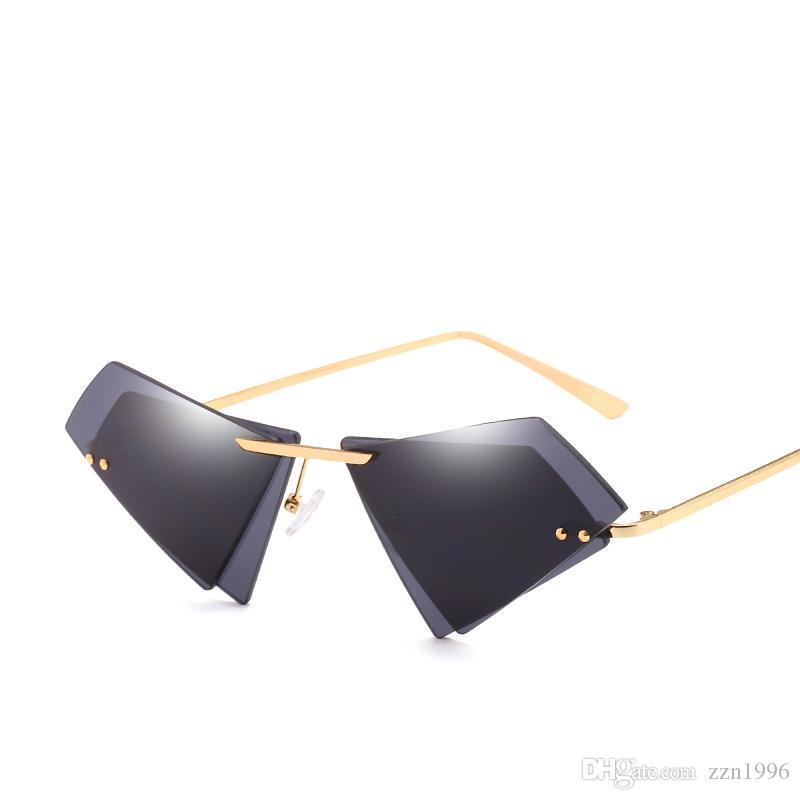 6006ee98cd4 Small Unique Irregular Frameless Sunglasses Women Men Brand Double ...