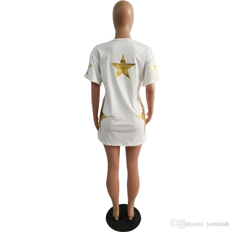 Wholesale Casual Print Golden Silver star Women Loose O Neck Short Sleeve Mini Streetwear Shirt Dress