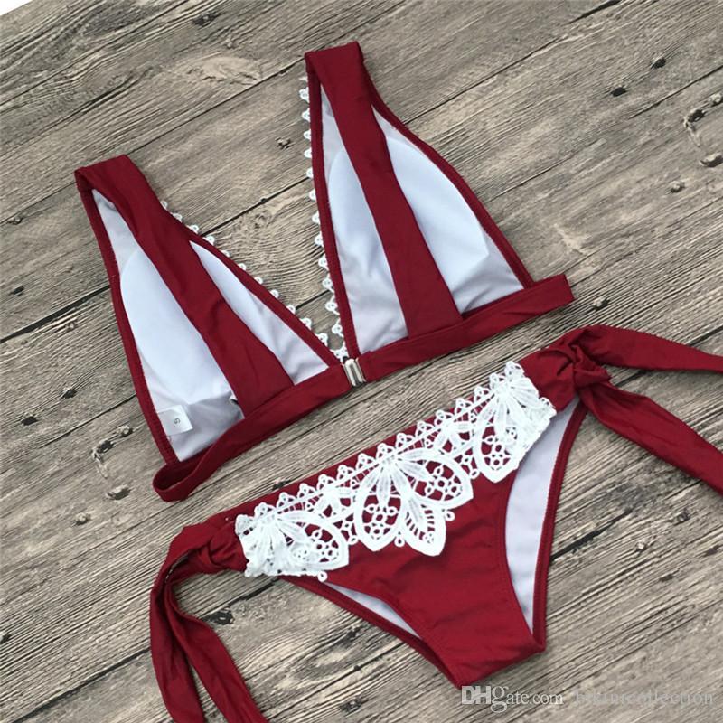 Women Bikini Set Lace Wide Shoulder Straps Swimsuit 6 Colours Bandage Bottom Swimwear Vintage style Beach Wear